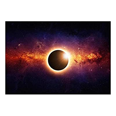 Top Quality Design, Pretty Design, Dark Planet Engulfed in a Surrounding Light with Galaxies Wall Mural