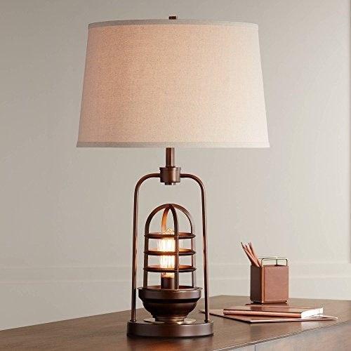 (Hobie Industrial Table Lamp with Nightlight LED Edison Bulb Rust Bronze Cage Drum Shade for Living Room Family - Franklin Iron Works)