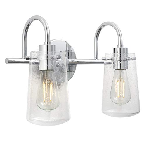 Lentia 2 Light Hallway Wall Sconce | Chrome Bathroom Vanity Light with LED Bulb LL-WL662-2PC
