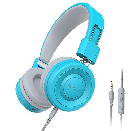 COOAU Lightweight On-Ear Headphones Hi-Fi Stereo Earphones Wired Foldable Headset with Built-in Mic for Iphone and Android Devices, Blue