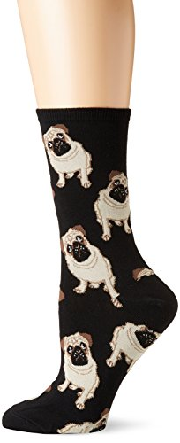 Socksmith Pug Dog Women's Novelty Sock, Black, Size 9-11 (Fits shoe size 5-10)