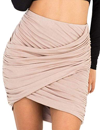 Yeshire Women's Sexy Wrap Runched Stretch Draped Mini Pleated Bodycon Pencil Skirt Large - Skirt Ruched Mini