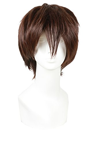 ROLECOS Okumura Yukio Cosplay Wig Mens Short Straight Fluffy Hair Wigs Dark Brown]()