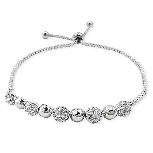 EXGOX Bracelet Round Shape White Gold Plated Adjustable Snake Chain with Shinning Ball Bracelet Jewelry Sets for Woman and Girls