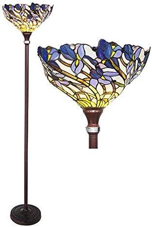 Chloe Ch1701b Tf 1 Light Tiffany Style Iris Torchiere Floor Lamp 17 Shade Multi Colored Tiffany Floor Lamp Amazon Com