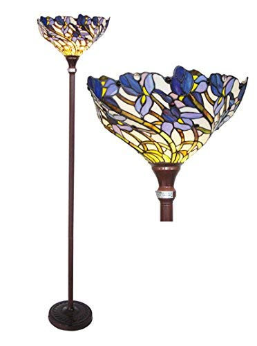 (Chloe Lighting CH38B01TF 1 Light Tiffany-Style Iris Torchiere Floor Lamp 17