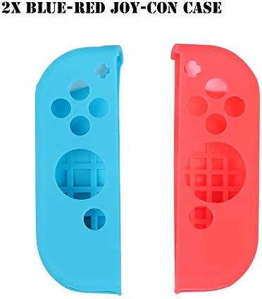 HTBG 任天堂スイッチゲームアクセサリー用シリコーン滑り止め保護スキンケースカバーグリップジョイスティックキャップシェルラップコンソールバンパー (Color : 2X Blue Red)