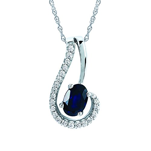 14K White Gold Sapphire & Diamond Swirl Pendant Necklace with 18