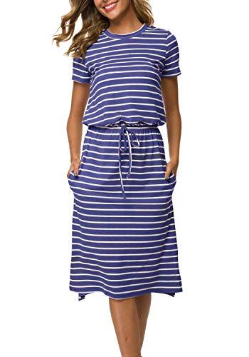 And Tall Tie Big Striped - Women's Striped Elastic Waist Casual Tie-Belt Midi Dress with Pockets LightBlue L