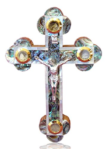 - 18cm Mother Of Pearl Jerusalem Orthodox Wall Wooden Cross (MOP-CRS-003)