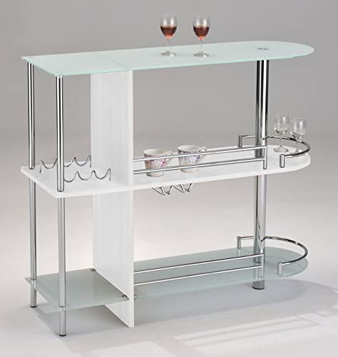 Kings Brand Furniture Bar Table with Two Tempered Glass Shelves, White