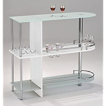 Charmant Kings Brand Furniture Bar Table With Two Tempered Glass Shelves, White