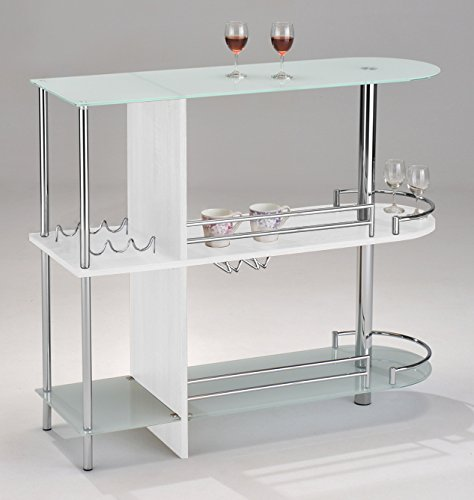 Kings Brand Furniture Bar Table with Two Tempered Glass Shelves, White (Buffet Cabinet Bar)