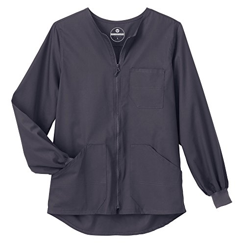 (Trust Your Journey Fundamentals by White Swan Unisex Zip Front Warm Up Solid Scrub Jacket X-Small Charcoal)