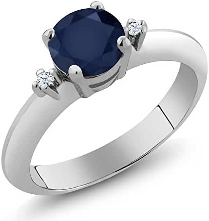 1.02 Ct Round Blue Sapphire White Topaz 925 Sterling Silver Ring