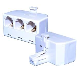 kenable rj11 4 wire 3 way adapter triple rj11. Black Bedroom Furniture Sets. Home Design Ideas