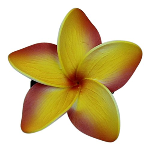 Hawaii Luau Party Dance Artificial Foam Plumeria Hair Clip In Yellow and Orange 2 - Hangover The Costume