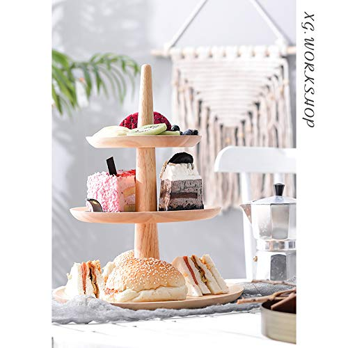 3-Tier oak Cupcake Stand Fruit Plate Cakes Desserts Fruits Snack Candy Buffet Display Tower Plastic White for Wedding Home Birthday Tea Party Serving Platter Small