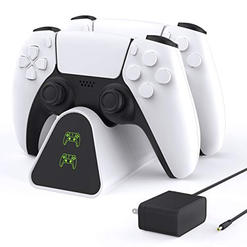 FnOoRw PS5 Controller Charger Station, Upgraded PS5 Charging Station with 5ft Power Cord Wall Charger, Fast Charging in 2.5 Hours, Dualsense Charging Station - White