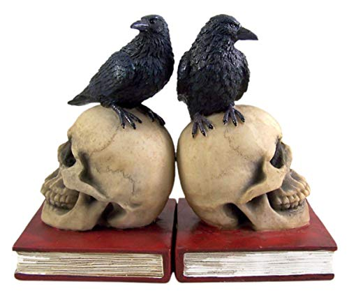 - Gothic Skull with Perched Raven Decorative Bookends, 7 Inches