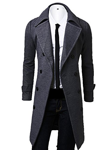 OCHENTA Men's Double Breasted Turn Down Collar Slim Woolen Overcoat Gray Asian M - US XS