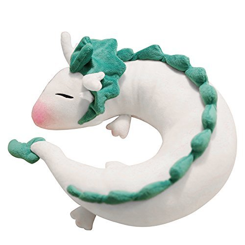 LUCKSTAR Dragon Neck Pillow Anime Cute U-shaped Pillow - Soft  Small White Dragon Cartoon Anime Neck Pillow Plush Toy (White)