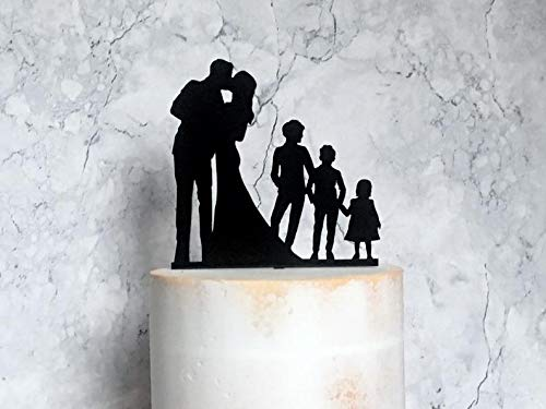 Family Wedding Cake Topper, Silhouette Cake Topper with 3 Children, Bride Groom and 3 Children, Couple Silhouette with 2 Boys and Girl, Kids