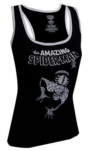 Spiderman Black & White Womens Tank Top- Slim Medium