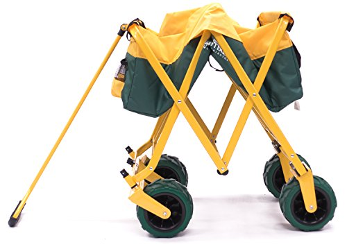 Creative Outdoor Distributor All-Terrain Folding SPORTS Team Wagon, (Green-Yellow/GreenWheels) 900555 - Multipurpose Cart for Gardening, Camping, Beach Trips, and Travelling by Creative Outdoor Distributor (Image #3)