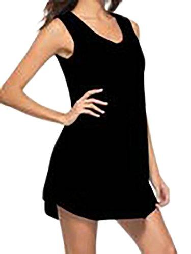 Cromoncent Été Des Femmes De Base Sans Manche Solide V-cou T-shirt Robe Swing Noir