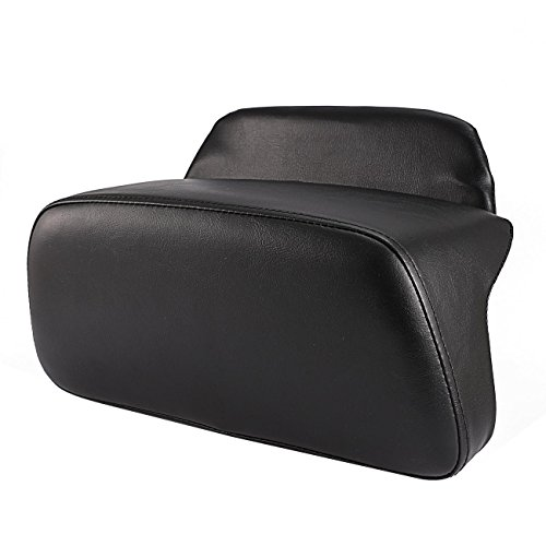 INNOGLOW Motorcycle Rear Backrest Pad Vivid/Glossy PU Leather Chopped Smooth Rear Seat Backrest Pad Pillow Tour Pack Cushion For Harley-Davidson Chopped & Razor Luggage Black
