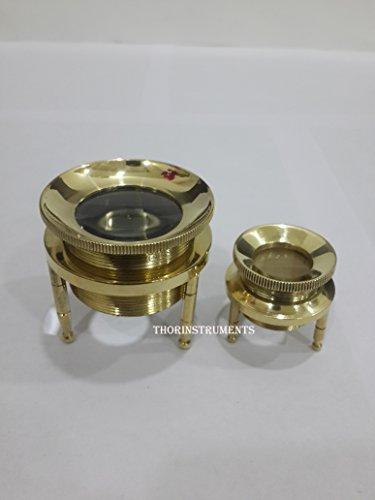 (Vintage Brass Chart Magnifying Glass Set of 2 Magnifying Desk Map Reader Glass)