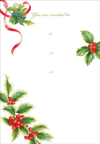 Christmas Party Invitations Party Invites Christmas Trimmings Fill In Lines Pk 8