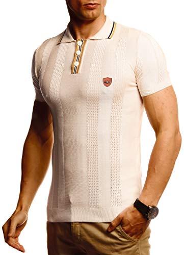 Leif Nelson Herren Sommer T-Shirt Polo Kragen Poloshirt Slim Fit aus Feinstrick Cooles weißes schwarzes Basic Männer Polo-Shirts Jungen Kurzarmshirt Kurzarm Sleeve Shirt Top LN20767