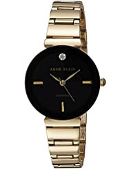 Anne Klein Womens AK/2434BKGB Diamond-Accented Gold-Tone Bracelet Watch