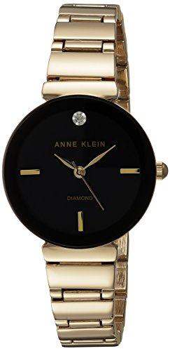 Anne Klein Women's AK/2434BKGB Diamond-Accented Gold-Tone Bracelet Watch