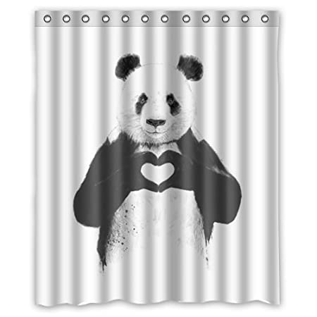 Personalized Love Shower Curtain ,All We Need Is Love Shower Curtains,Panda  Love Heart