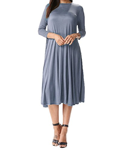 Women's Long Sleeve Midi Dress Solid Floral A-Line and Swing T-Shirt (Medium, (French Flared Jeans)