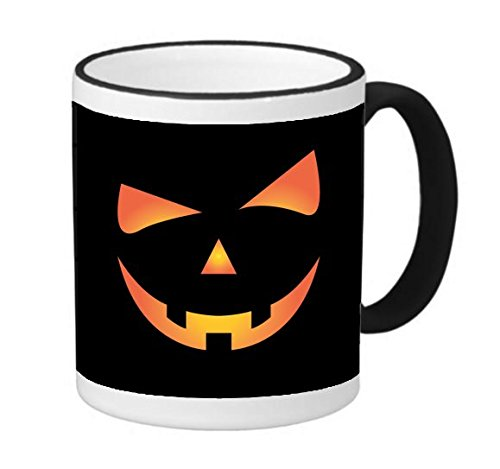 Scary Spooky Halloween Pumpkin Face 11 ounce Black Rim/Handle Ringer Ceramic Coffee Mug Tea Cup by Moonlight (Scary Halloween Coffee Mugs)
