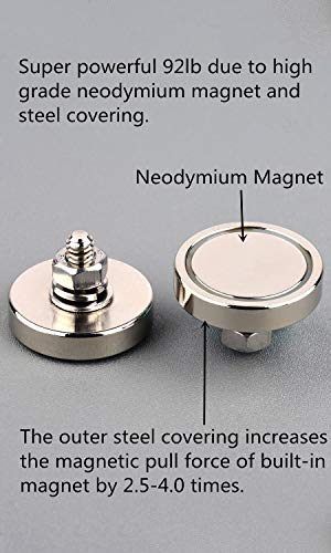 MUTUACTOR 2Pack Super Powerful Neodymium Cup Magnet with 1/4''-20 Male Threaded Stud, 100lb Vertical Pull-Force Non-Shattering Magnet Base with Nut and Washer for Lighting, Camera and Other Brackets. (Color: Silver, Tamaño: D1.26'')