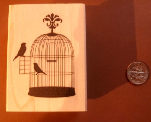 Silhouette bird cage rubber stamp P22