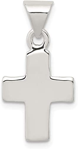 """14K Solid White Gold Religious Simple Cross Charm Pendant 23MM 0.9/"""""""