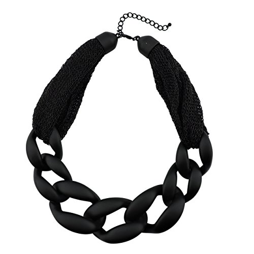 BOCAR Statement Chunky Fashion Acrylic Paint Beads Choker Net Chain Necklace for Women Gifts (NK-10510)
