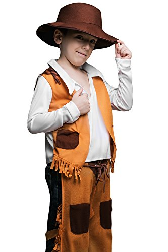 Cowboy Outfits For Kids (Kids Boys Wild West Cowboy Costume Rodeo Rider Western Sheriff Dress Up Role Play (6-8 years, Brown, White, Light-brown))