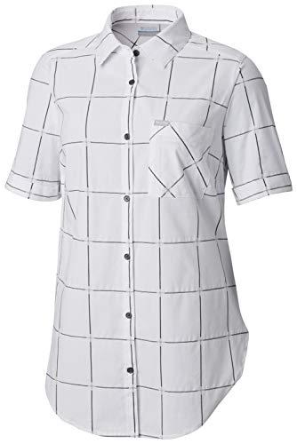 - Columbia Women's Anytime Casual Stretch Short Sleeve Shirt, White Windowpane, Medium