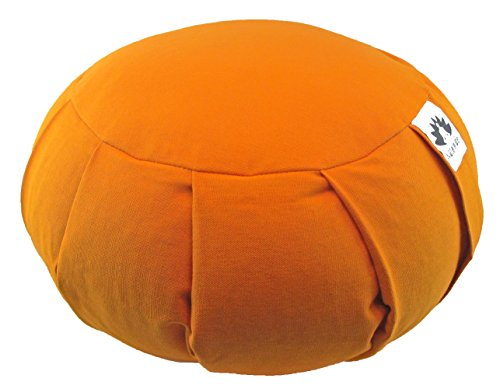 Waterglider International Zafu Yoga Meditation Pillow with USA Buckwheat Fill, Certified Organic Cotton- 6 Colors (Orange Saffron)