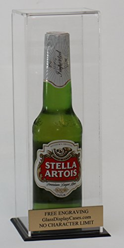 Beer or Soda Bottle Personalized Acrylic Display Case with Black Acrylic Base - Free No Limit Engraving
