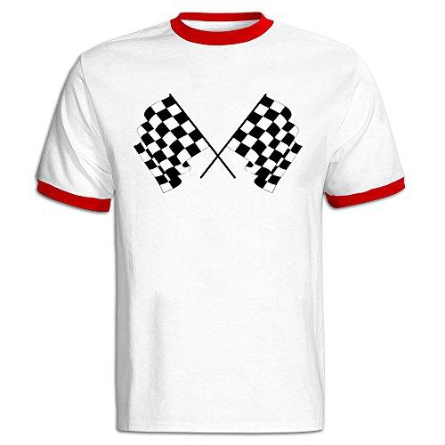 Men Clothing Men's Auto Racing Flag Baseball Tee Shirt Red -