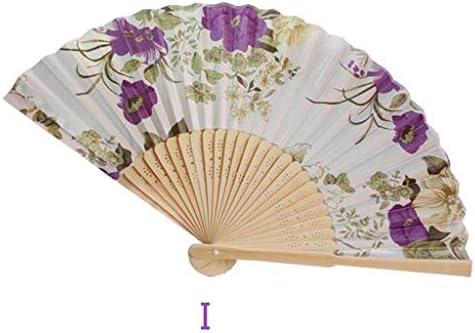 折りたたみ手のファン 女性の古典的な竹ファンレトロ扇子ミニ中国風の古典的なチャイナファン扇子小さなファン (Color : I)