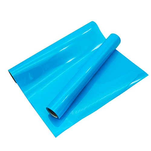 "PU Heat Transfer Vinyl Roll 10""x5ft Neon Blue for T Shirts Garments Bags and Other Fabrics by Plotter Cutter"